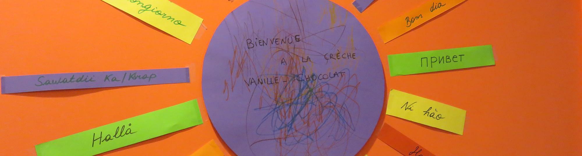 Affichette de bienvenue dans la crèche Vanille-Chocolat